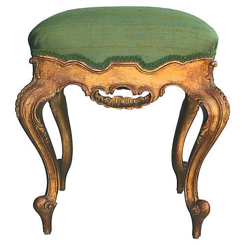 Louis XV Style Stool W/Silk