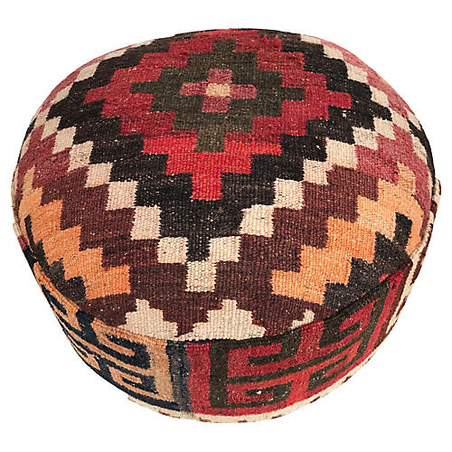 Vtg Ottoman/Footstool W/tribal Kilim