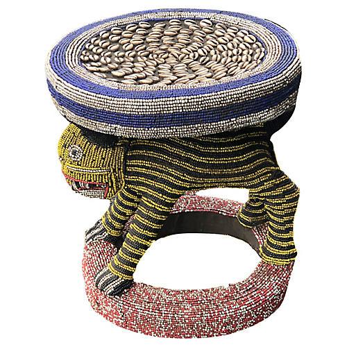 LG King Bamileke Beaded Table/Stool