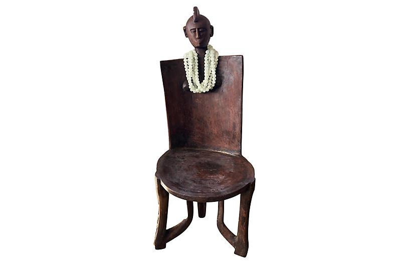 Large Tanzanian 3-Legged Makonde Chair