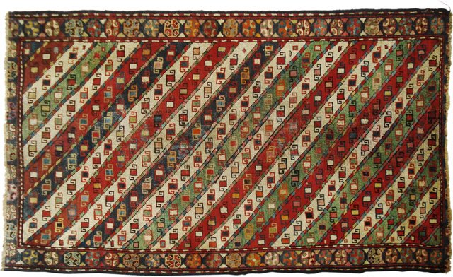"""19th-C. Caucasian Gendje Rug, 3' x 5'3"""""""