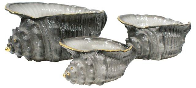 Italian Shell Pottery, Set of 3
