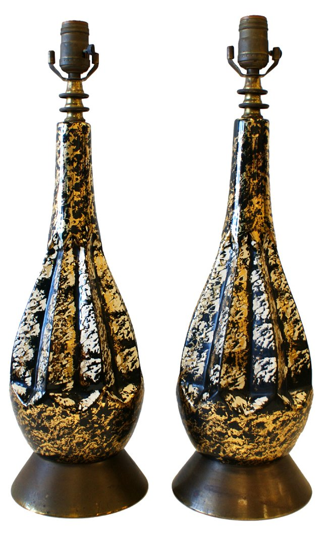 1950s Black & Gold Lamps, Pair