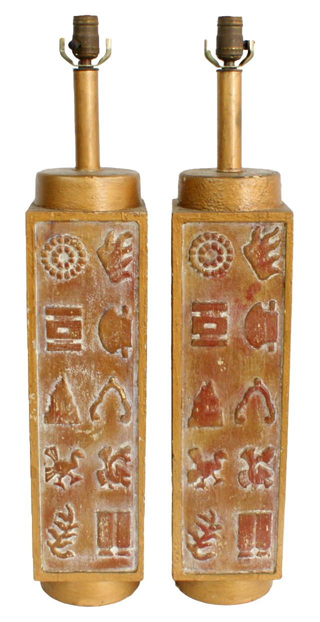 Carved Wood Lamps, Pair
