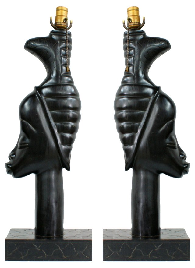 1950s Carved Wood Lamps, Pair