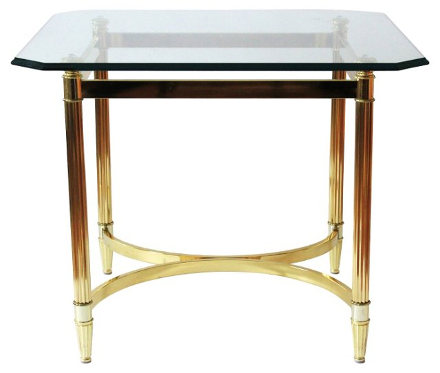 Square Brass Side Table w/ Glass Top