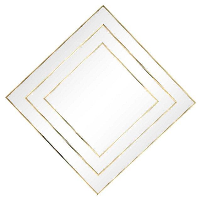 Square Gold-Framed Mirror