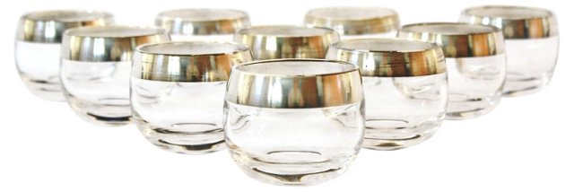 Silver-Banded Highball Glasses, S/10