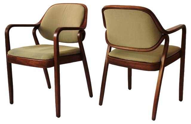 Bentwood Armchairs by Knoll, Pair