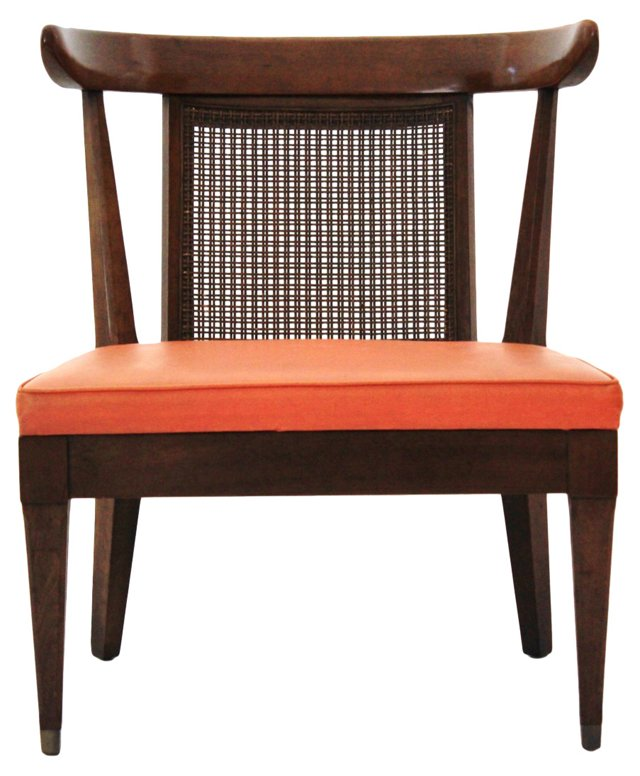 Midcentury Caned-Back Slipper Chair