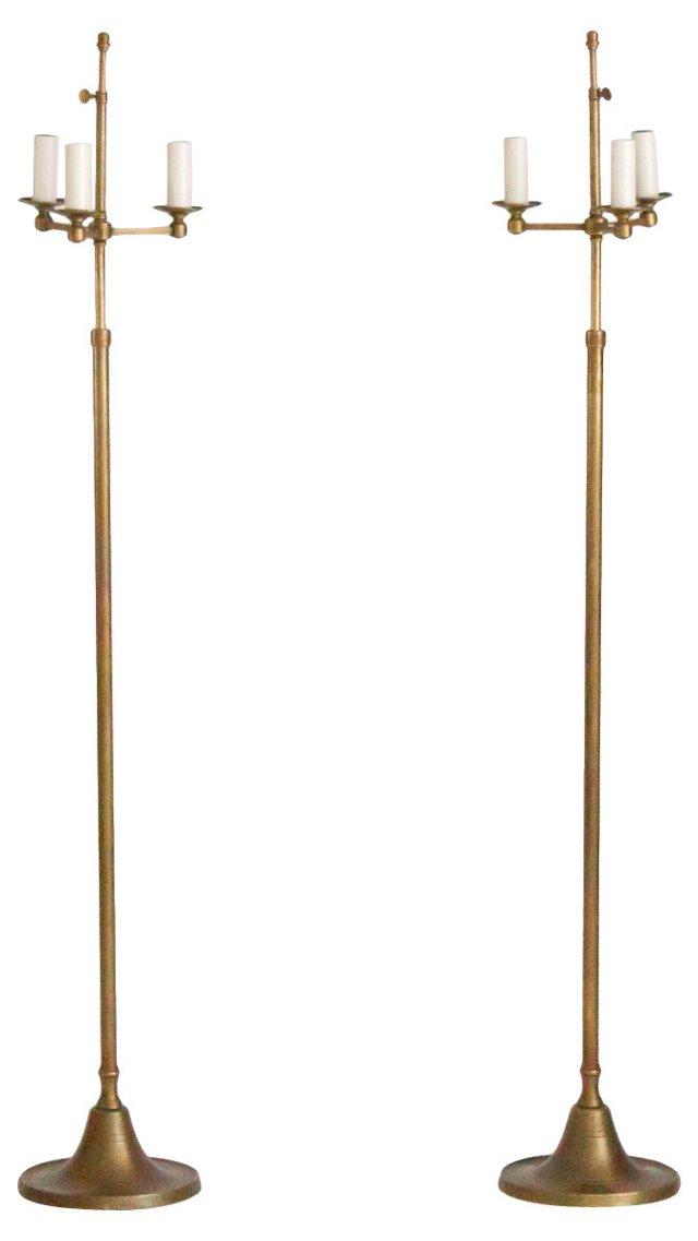 Brass 3-Arm Floor Lamps, Pair