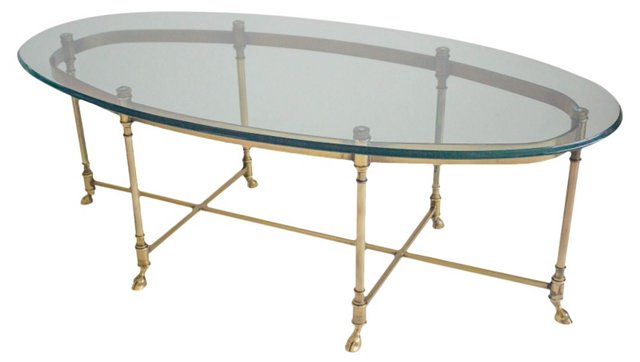 Brass & Glass Oval LaBarge Coffee Table