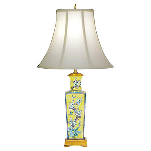 Yellow Cherry Blossom Lamp w Birds