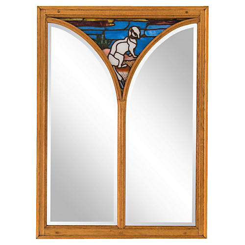 Large Oak Mirror w/ Stained Glass Ermine