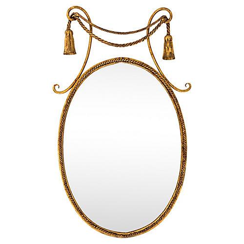 Italian Toleware Oval Mirror W Tassels