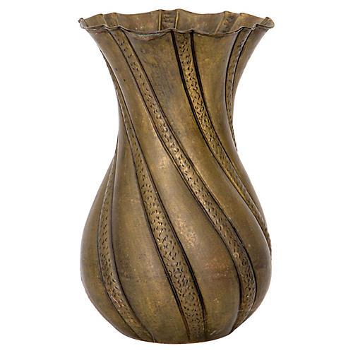 Italian Brass Floor Vase
