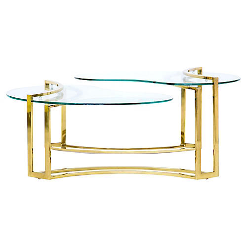 2-Tier Cantilevered Brass Coffee Table