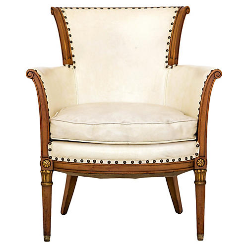 Louis XVI-Style Bergere w/ Gold Accents