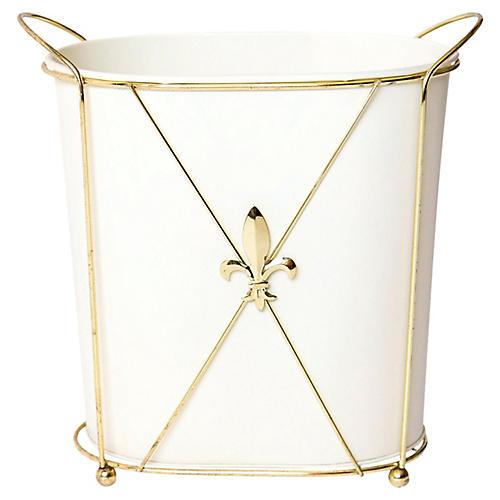 Gold Fleur De Lis Waste Basket, 2 Pcs