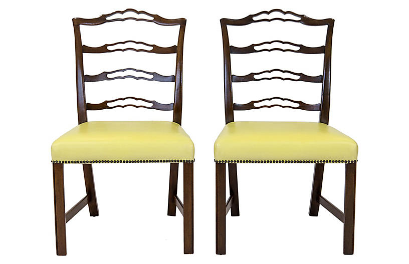 Mahogany Ladder Back Side Chairs, Pair
