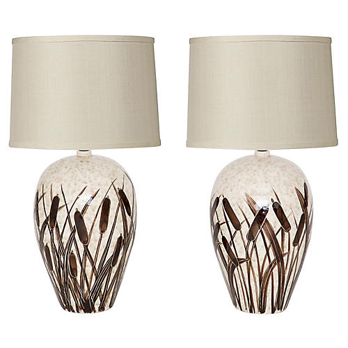 Large Hand-Painted Catttail Lamps, Pair