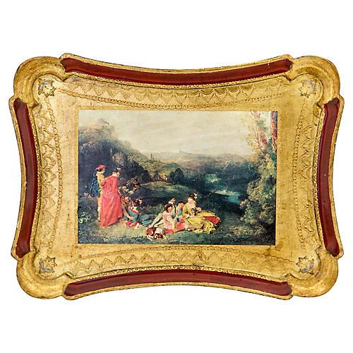 Gilded Florentine Tray w Baroque Scene