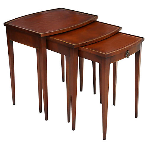 Leather Top Nesting Tables by Hekman S/3
