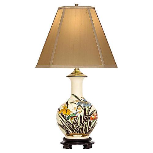 Japanese Vase Table Lamp w Irises