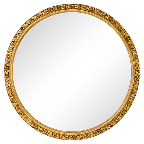 Large Giltwood Round Mirror