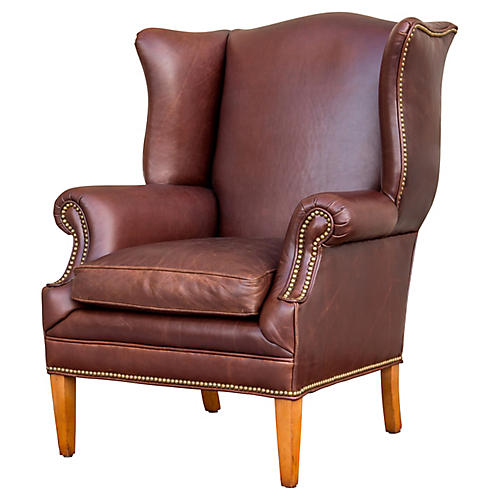 Leather Chippendale Style Wing Chair
