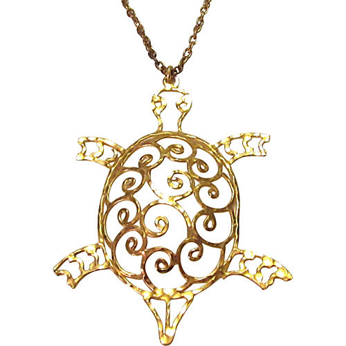 Modern Turtle Pendant on Chain