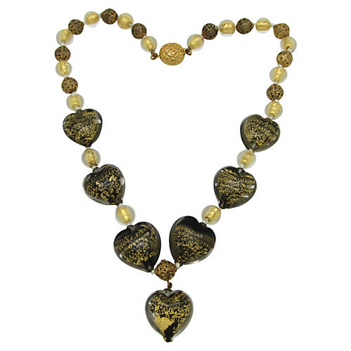 Murano Glass Heart Bead Necklace