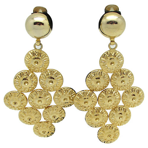 Goldtone Metal Runway Earrings