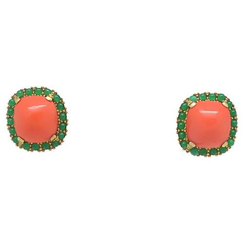 Ciner Faux-Coral & Jade Earrings