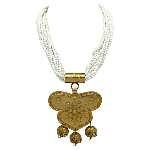 Indian-Style Goldtone Pendant Necklace
