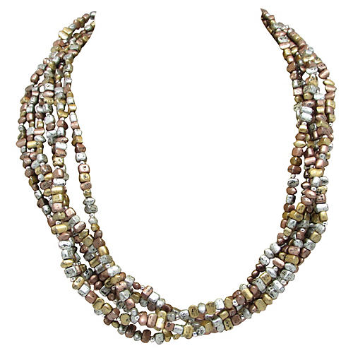 Multi-Strand Metallic Beads Necklace