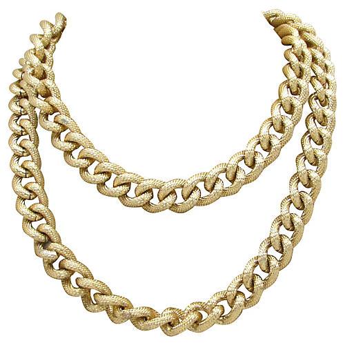 1980s Texturized Goldtone Link Necklace