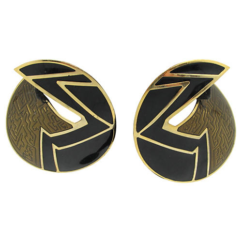 Berebi Black & Bronze Enamel Earrings