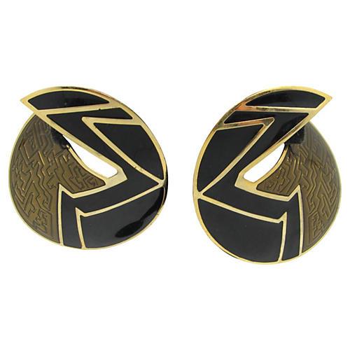 Berebi Black & Bronze Enamel Earrings