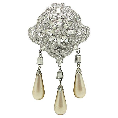 Art Deco Trembler Brooch w/ Faux-Pearls