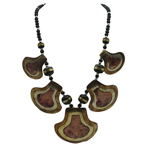 1960s Copper & Brass Pendant Necklace