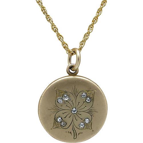 Edwardian Gold-Filled Locket w/ Chain