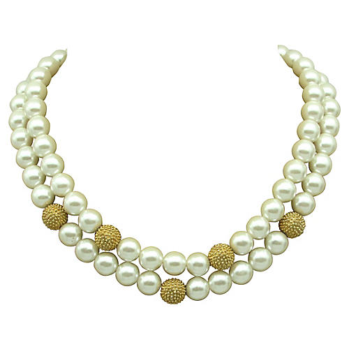 Edwin Pearl Goldtone Faux-Pearl Necklace