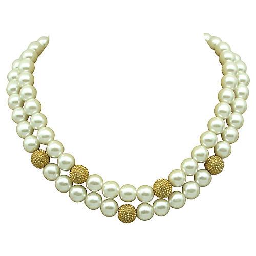 Edwin Pearl Goldtone Faux-Pearl Necklace