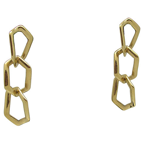 Goldtone Link Earrings