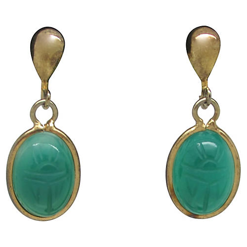 Faux-Jade Scarab Earrings