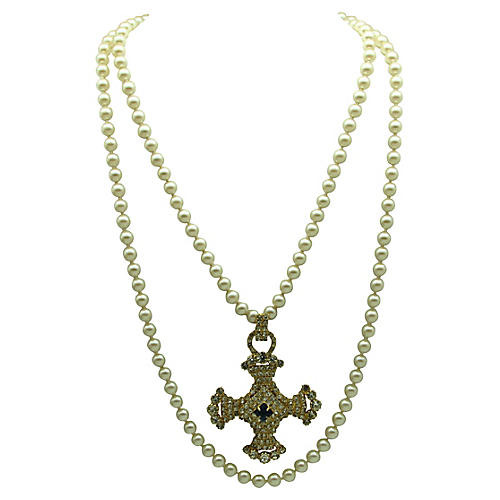 Faux-Pearl & Maltese Cross Necklace