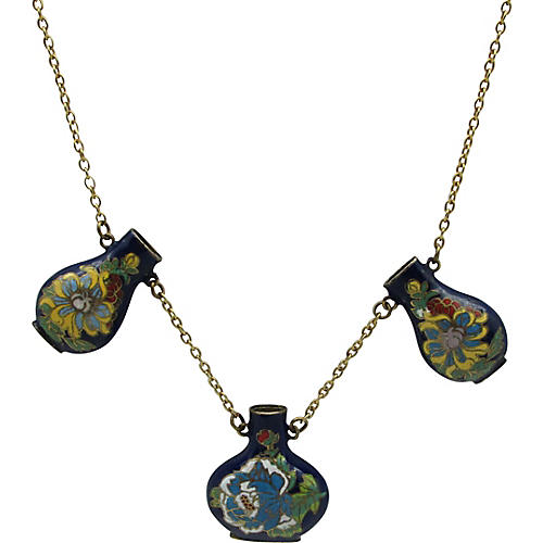 Three Cloisonne Vase Pendant Necklace