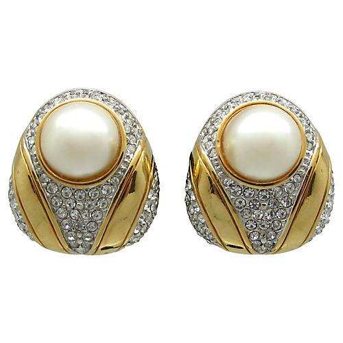 Regal Faux-Pearl & Rhinestone Earrings