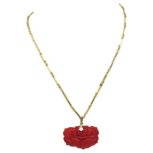 Asian Soapstone Floral Pendant